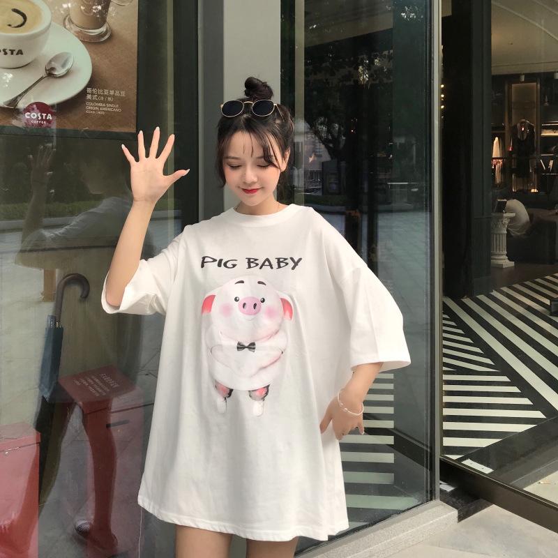 网红短袖T恤大码女装韩版宽松显瘦圆领印花猪小屁上衣