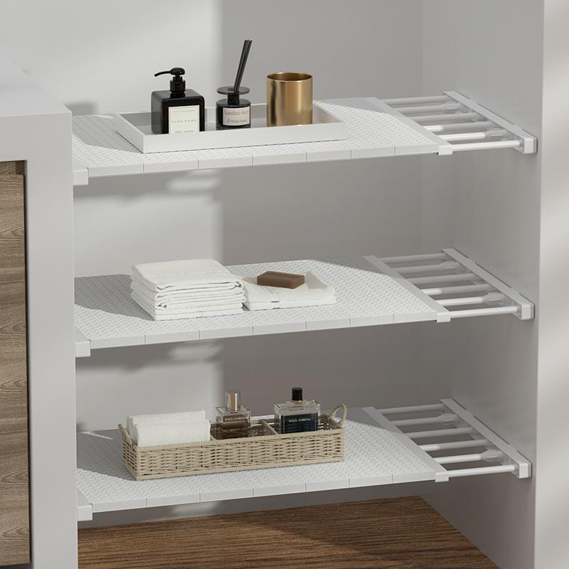 衣柜收纳分层隔板 免钉可伸缩置物架 长50-80 宽35