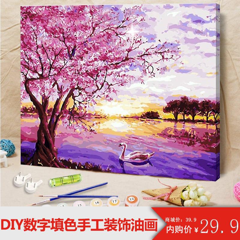 手工绘油彩装饰画油画diy数字油画