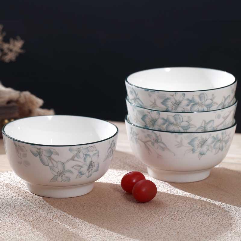 8个装手绘日式玉兰齐芳碗家用陶瓷米饭碗